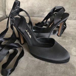 Nina satin lace up heels size 9 1/2